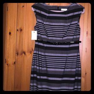 Calvin Klein Gray Stripe Empire Waist Dress - 8